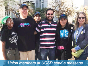 Union members at UCSD send a message