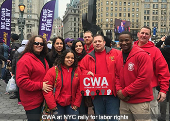 CWA at NYC rally for labor rights